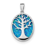 Sterling Silver Created Sapphire Tree of Life Pendant Solid 21.1 mm 28.2 mm Themed Pendants /& Charms Jewelry