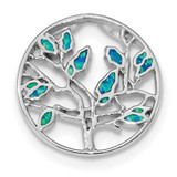 Blue Created Opal Tree Pendant Sterling Silver Rhodium-plated MPN: QP4864