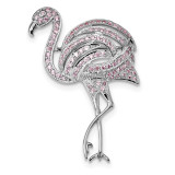 Pink CZ Flamingo Pin Sterling Silver Rhodium-plated MPN: QP4883