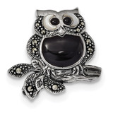 Marcasite/Mother of Pearl/Black Agate Owl Pin Sterling Silver Antiqued MPN: QP4886