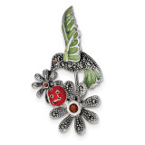 Epoxy/Marcasite/Red Glass Ladybug Flower Pin Sterling Silver Antiqued MPN: QP4887