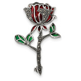 Red & Green Epoxy Marcasite Flower Pin Sterling Silver Antiqued MPN: QP4891