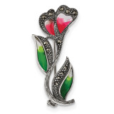 Red/Green Epoxy Marcasite Flower Pin Sterling Silver Antiqued MPN: QP4892