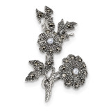 Marcasite & Acrylic Pearl Flowers Pin Sterling Silver Antiqued MPN: QP4893