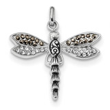 Oxidized Crystal & Marcasite Pendant Sterling Silver Rhodium-plated MPN: QP5014