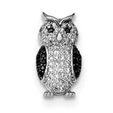 Black & White CZ Owl Slide Pendant Sterling Silver Rhodium-plated MPN: QP5021