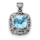Diamond & Lt Swiss Blue Topaz Pendant Sterling Silver Rhodium MPN: QP5026BT
