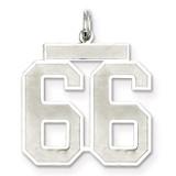 Pendant Number 66 Satin Sterling Silver Large MPN: QPP66, UPC: 191101282058