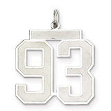 Pendant Number 93 Satin Sterling Silver Large MPN: QPP93, UPC: 191101282324