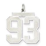 Pendant Number 93 Satin Sterling Silver Large MPN: QPP93, UPC: 191101282324