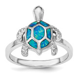 Created Blue Opal Turtle Ring Sterling Silver Rhodium MPN: QR6029