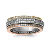 Tri-color Pave Eternity Motion Ring Sterling Silver Rhodium Polished MPN: QR6274