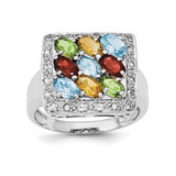 Multicolored CZ Ring Sterling Silver Polished MPN: QR6303