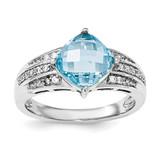 CZ and Blue Topaz Ring Sterling Silver Rhodium MPN: QR6367BT