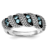 Blue Topaz Ring Sterling Silver Rhodium MPN: QR6403BT, UPC: 191101704987