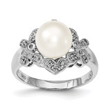 8-9mm White Cultured Freshwater Pearl CZ Ring Sterling Silver Rhodium-plated MPN: QR6495