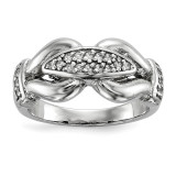 Textured Fancy CZ Ring Sterling Silver Rhodium-plated Polished MPN: QR6530