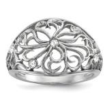 CZ Flower Ring Sterling Silver Rhodium-plated MPN: QR6532