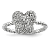 CZ Butterfly Ring Sterling Silver Rhodium-plated MPN: QR6533