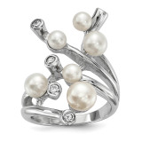 4-7mm White Button Cultured Freshwater Pearl CZ Ring Sterling Silver Rhodium-plated MPN: QR6542