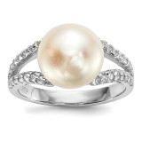 10-11mm White Button Cultured Freshwater Pearl CZ Ring Sterling Silver Rhodium-plated MPN: QR6545