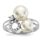 6-8mm White Button Cultured Freshwater Pearl CZ Ring Sterling Silver Rhodium-plated MPN: QR6546