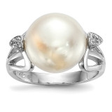 12-13mm White Button Cultured Freshwater Pearl CZ Ring Sterling Silver Rhodium-plated MPN: QR6547