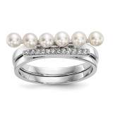 3-4mm White Cultured Freshwater Pearl CZ Duo Ring Sterling Silver Rhodium-plated MPN: QR6554