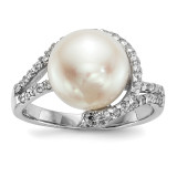 10-11mm White Button Cultured Freshwater Pearl CZ Ring Sterling Silver Rhodium-plated MPN: QR6555