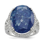 CZ and Cracked Blue CZ Ring Sterling Silver Rhodium-plated MPN: QR6562