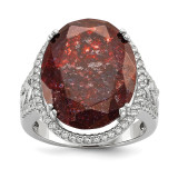 CZ and Cracked Red CZ Ring Sterling Silver Rhodium-plated MPN: QR6563