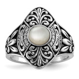 Oxidized with Mother of Pearl & CZ Ring Sterling Silver Rhodium-plated MPN: QR6564