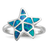 Blue Inlay Created Opal Starfish Ring Sterling Silver Rhodium-plated MPN: QR6570