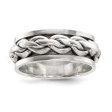 Spinning Center Antiqued Chain Ring Sterling Silver Polished MPN: QR6598