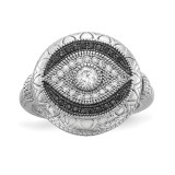 Black and White CZ Evil Eye Ring Sterling Silver Rhodium-plated MPN: QR6621