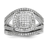 CZ 3 Ring Set Sterling Silver Rhodium-plated MPN: QR6715