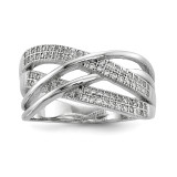 CZ Woven Ring Sterling Silver Rhodium-plated MPN: QR6728