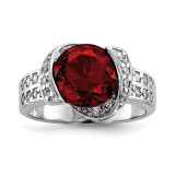 Red & Clear CZ Ring Sterling Silver Rhodium-plated MPN: QR6763