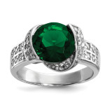 Green & Clear CZ Ring Sterling Silver Rhodium-plated MPN: QR6766