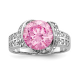 Pink & Clear CZ Ring Sterling Silver Rhodium-plated MPN: QR6769