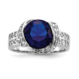 Blue & Clear CZ Ring Sterling Silver Rhodium-plated MPN: QR6771