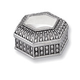 Antiqued Silver-plated Medium Hexagon Dot Jewelry Box, MPN: GL1620, UPC: 15227866254