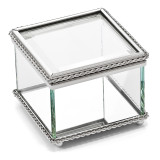 Nickel-plated Hinged Square Glass Box, MPN: GL7487, UPC: 47105036107