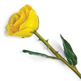 Lacquer Dipped Natural Yellow Rose with Green Leaves & Stem, MPN: GM13070, UPC: 812465020543