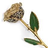 Lacquer Dipped 24k Gold Trim Cream Black Leopard Rose, MPN: GM13080, UPC: 812465020468