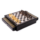 Carbon Fiber & Mother of Pearl Design Chess Set with Accessory Drawers, MPN: GM13393, UPC: 797140405511