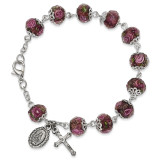 Handpainted Purple Beads Rosary Bracelet Silver-tone, MPN: GM13492, UPC: 886083203275