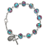 Handpainted Aqua Beads Rosary Bracelet Silver-tone, MPN: GM13493, UPC: 886083203244