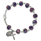 Handpainted Blue Beads Rosary Bracelet Silver-tone, MPN: GM13496, UPC: 886083203251