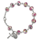 Handpainted White/Pink Beads Rosary Bracelet Silver-tone, MPN: GM13497, UPC: 886083203237